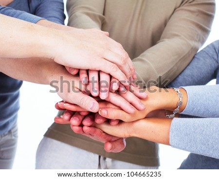 Hands of people. Business team. Union.