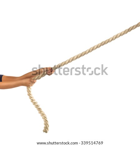 Hands of people pulling the rope on white background.  Competition concept