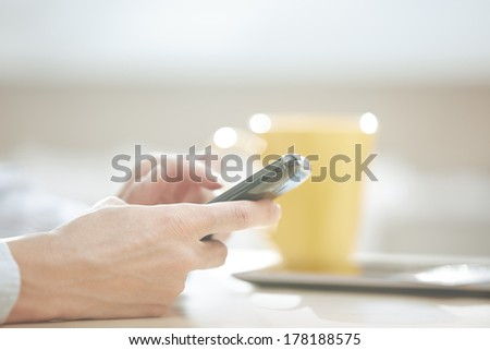 Hands of smartphone user at lunch - stock photo