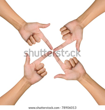 Hands of teamwork , conceptual style , focus to the one point - stock photo