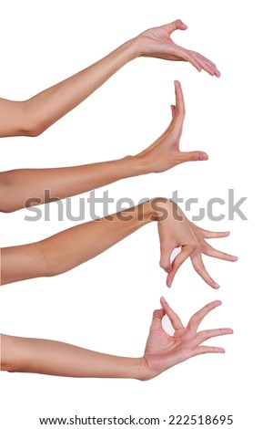 Hands of Thai, show dancing hand isolate white background - stock photo