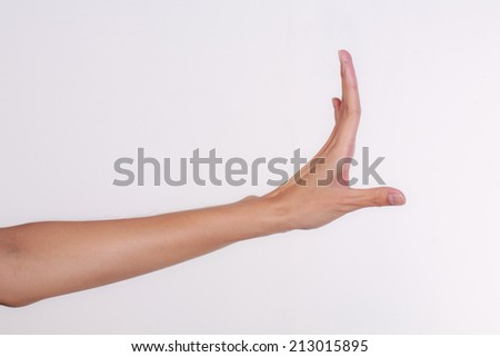 Hands of Thai, show dancing hand on white background - stock photo
