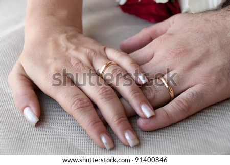 hands of the bride and groom with the wedding rings