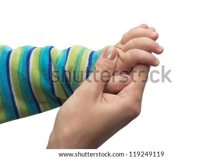 hands of the child and mother on a white background - stock photo
