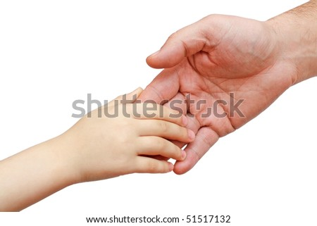 hands of the child in the hands of the father - stock photo
