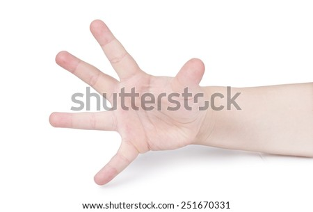 hands of the child isolated on the white background.  - stock photo