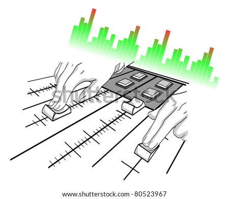 Hands of the DJ over a mixer panel. A background for a party. An abstract illustration. - stock photo
