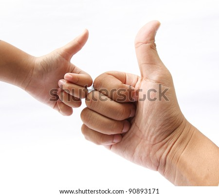 Hands of the father and son giving like,hand giving like on white - stock photo