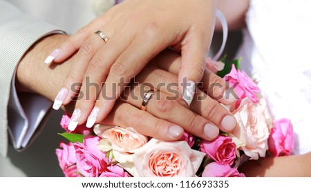 Hands of the groom and the bride with wedding rings - the newlyweds