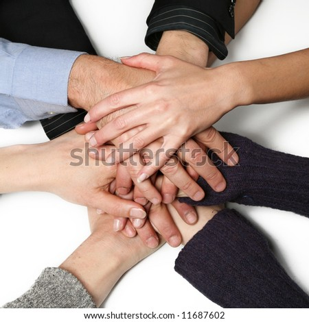 Hands of the group - stock photo