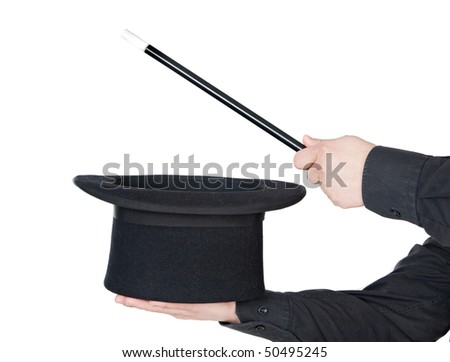 Hands of the magician with magic wand and top hat isolated on white background