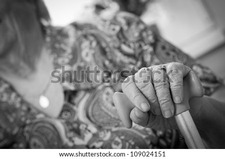 Hands of the old woman , black and white - stock photo