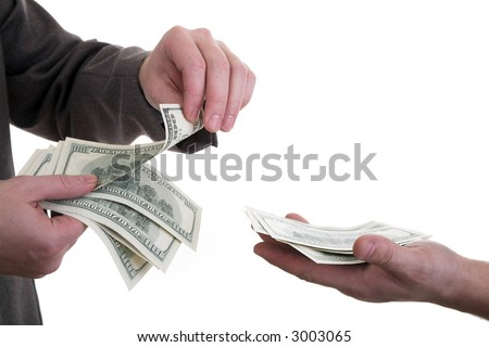 Hands of two men counting, giving and taking dollars (Count money) - stock photo