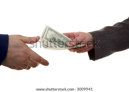 Hands of two men giving and taking dollars (Pay money) - stock photo