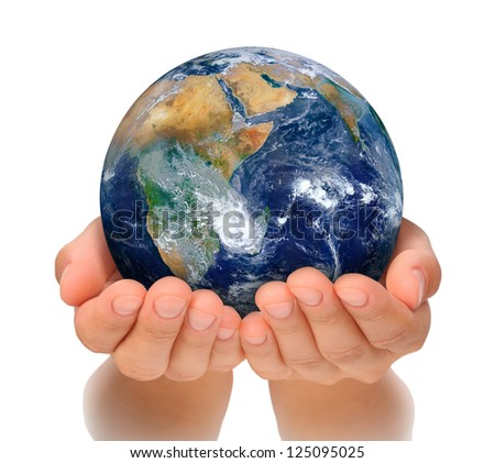 Hands of woman holding globe, Africa and Near East. Elements of this image furnished by NASA - stock photo