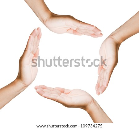 Hands of women isolated on black background