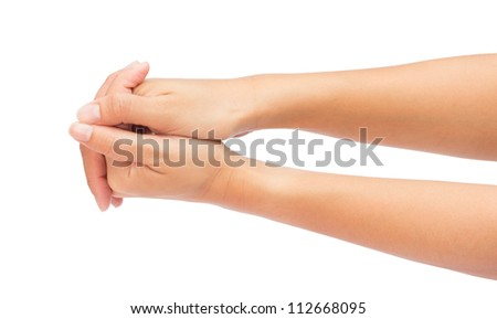 Hands of women isolated on white background