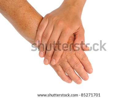 Hands of young and senior women - helping hand concept - clipping path included
