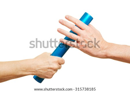 Hands offering a blue relay baton during running race