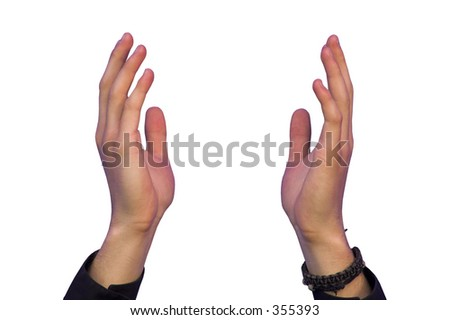 hands on a posture of expecting/holding something