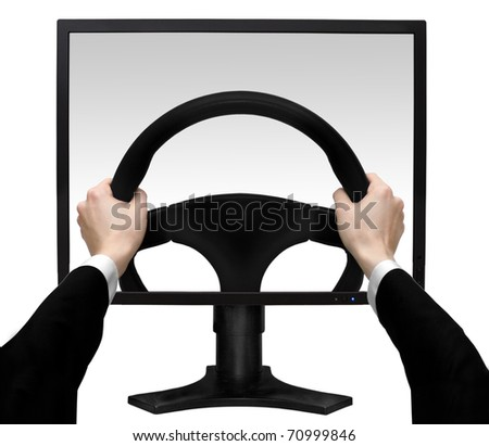 Hands on a steering wheel in the screen the monitor isolated white background - stock photo