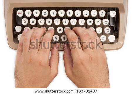 Hands on a typewriter keyboard with a white background