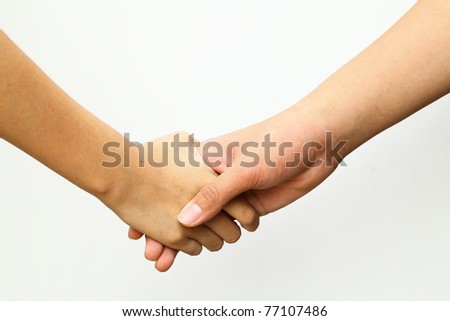 Hands on a white background.