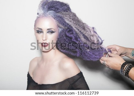 hands on hair - stock photo