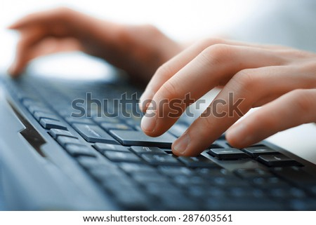 hands on keyboard - stock photo
