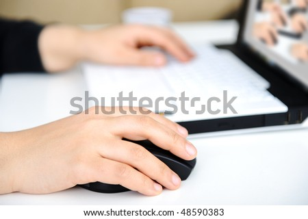 Hands on notebook - stock photo