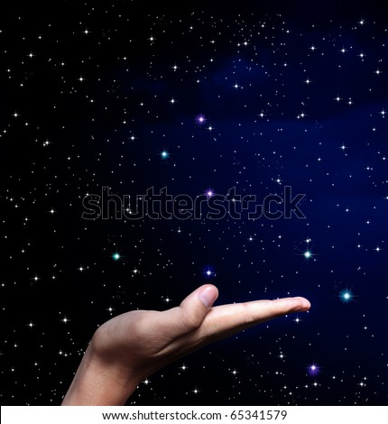 Hands on star - stock photo