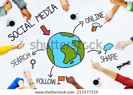 Hands on Table with Social Media Concepts - stock photo