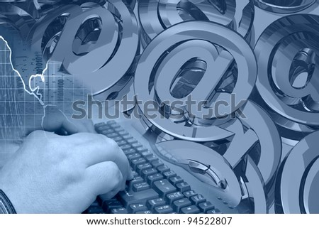 Hands on the keyboard - abstract computer background in blues. - stock photo