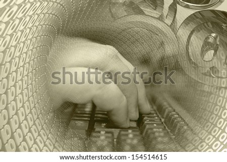 Hands on the keyboard, digits and  mail signs - abstract computer background in sepia. - stock photo