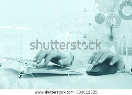 Hands on the keywords and on the mouse, abstract human, particle and modern city background