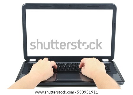 Hands on the laptop keyboard. Isolated on white background.
