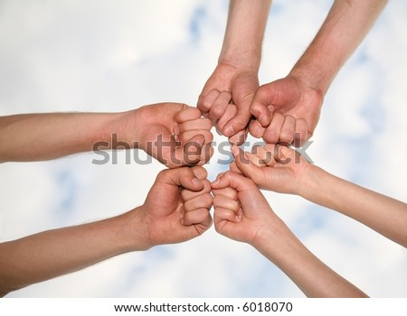 hands on the sky backgrounds - stock photo
