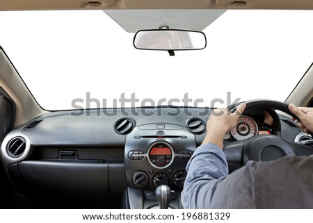 Hands on the steering wheel isolated on a white  - stock photo