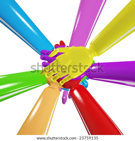 Hands on top of each other. Symbolic picture. Including clipping path. - stock photo
