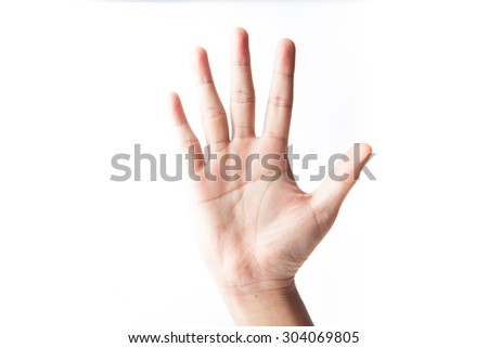 "Hands on white backgrounds, sign fifth ""5"" - stock photo"