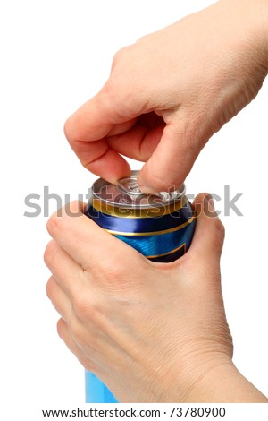 Hands opening a soda (beer) can. Isolated on white background.