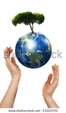 Hands, our planet Earth and the tree - a symbol of environmental protection - stock photo