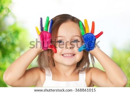 Hands painted. - stock photo