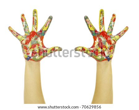 hands painted in colorful paints - stock photo