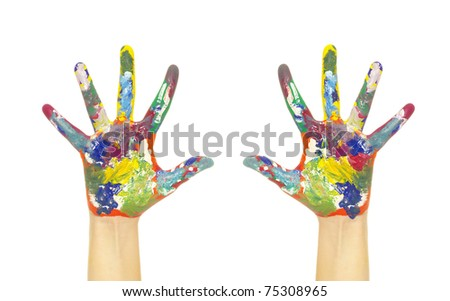 hands painted in colorful paints on white