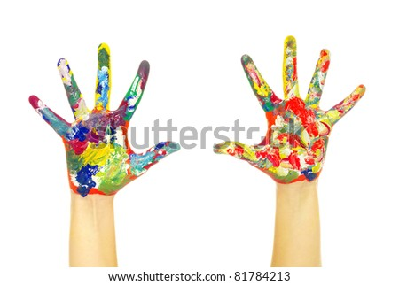 hands painted in colorful paints on white - stock photo