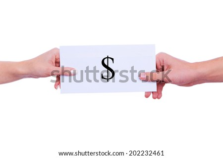 hands passing money in an envelope. isolated on white - stock photo