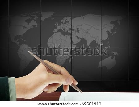 hands pen - stock photo