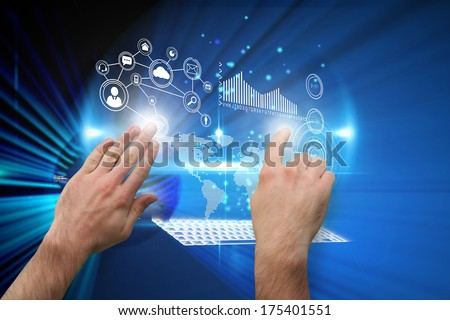Hands pointing and presenting against digital earth background