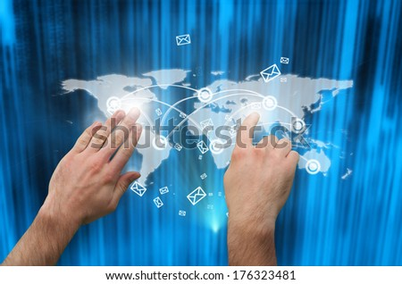 Hands pointing and presenting against futuristic blue black background